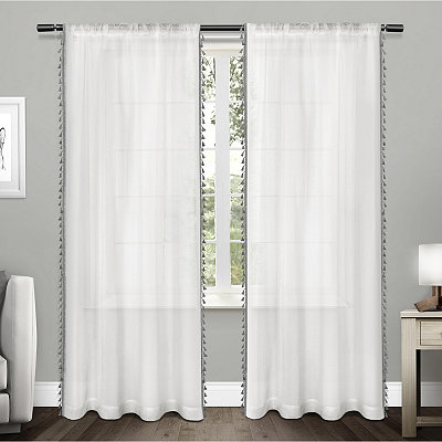 Gray Tasseled Sheer Curtain Panel Set, 96 in.
