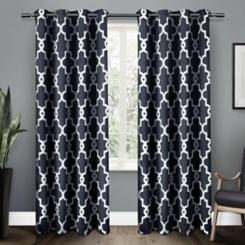 Navy Maxwell Sateen Curtain Panel Set, 108 in.