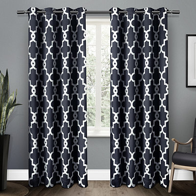 Navy Maxwell Sateen Curtain Panel Set, 108 in.