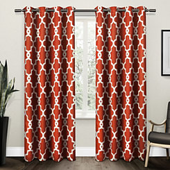 Orange Maxwell Sateen Curtain Panel Set, 108 in.