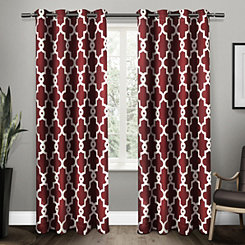 Red Maxwell Sateen Curtain Panel Set, 108 in.