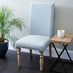 Blue Linen Spool Leg Parsons Chair