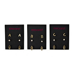 Gold Monogram Earring Sets