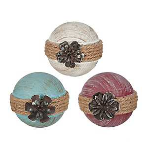 Carved Rope Flower Orbs, Set of 3