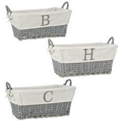 Gray Wicker Monogram Baskets