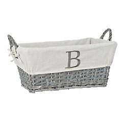 Gray Wicker Monogram B Basket