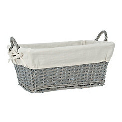 Gray Wicker Lined Basket