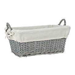 Gray Wicker Lined Basket