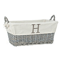 Gray Wicker Monogram H Basket