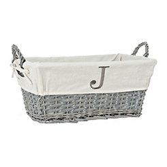 Gray Wicker Monogram J Basket