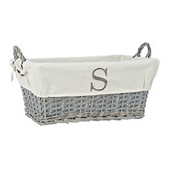 Gray Wicker Monogram S Basket