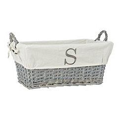 Gray Wicker Monogram S Basket