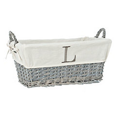 Gray Wicker Monogram L Basket