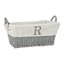 Gray Wicker Monogram R Basket