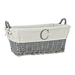 Gray Wicker Monogram C Basket