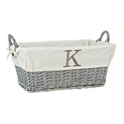 Gray Wicker Monogram K Basket