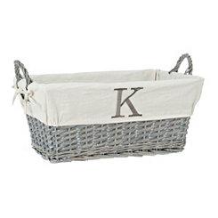 Gray Wicker Monogram K Basket
