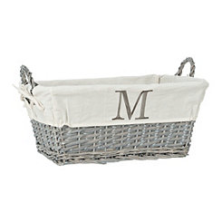 Gray Wicker Monogram M Basket