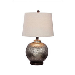 Round Hammered Mercury Glass Table Lamp