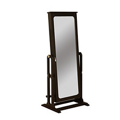 Antique Black Cheval Jewelry Armoire Mirror
