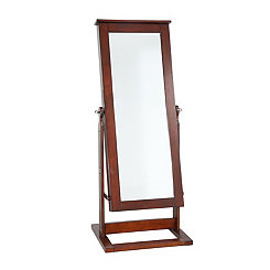 Walnut Cheval Jewelry Armoire Mirror