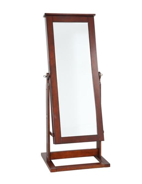 Walnut Cheval Jewelry Armoire Mirror