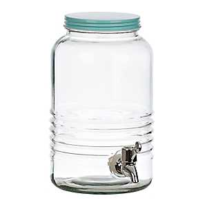 Blue Lid Ribbed Beverage Dispenser