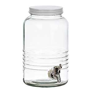 White Lid Ribbed Beverage Dispenser