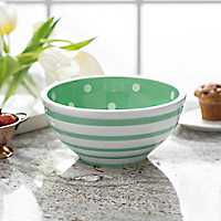 Green Dot and Stripe Bowl