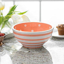 Orange Dot and Stripe Bowl