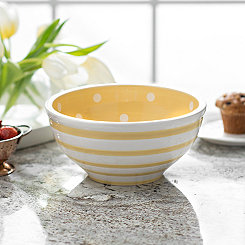 Yellow Dot and Stripe Bowl