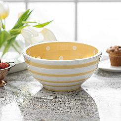 Yellow Dot and Stripe Bowl