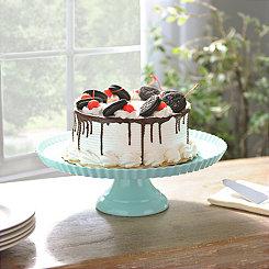 Blue Ruffle Rim Cake Stand