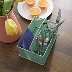 Green Metal Sectioned Utensil Caddy