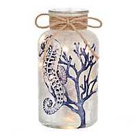 Pre-Lit Blue Seahorse Decorative Jar