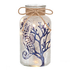 Pre-Lit Blue Seahorse Decorative Jar