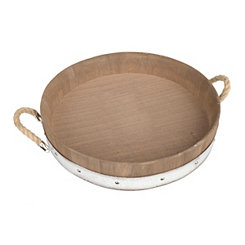 Wood Barrel Decorative Tray