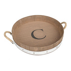 Wood Barrel Monogram C Tray