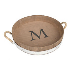 Wood Barrel Monogram M Tray