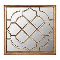 Gold Fretwork Overlap I Wall Mirror