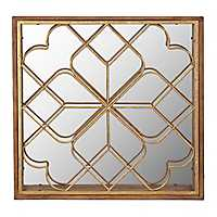 Gold Fretwork Overlap II Wall Mirror