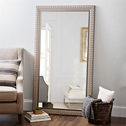 Ornate Light Woodgrain Wall Mirror