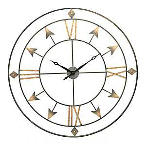 Gold Treasure Arrow Wall Clock