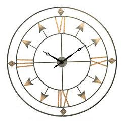 Gold Treasure Arrow Wall Clock