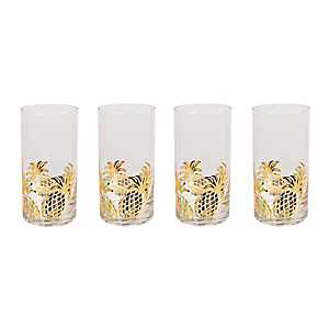 Gold Pineapple Highball Glasses, Set of 4