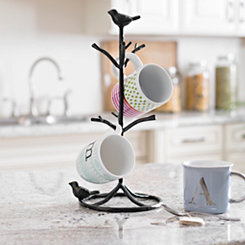 Black Bird Metal Mug Tree