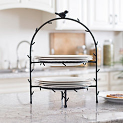 Black Bird Metal Two-Tiered Plate Holder