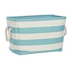 Turquoise Stripe Storage Bin
