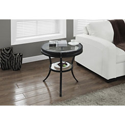 Black Wheel Modern Accent Table