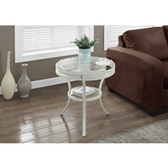 White Wheel Modern Accent Table